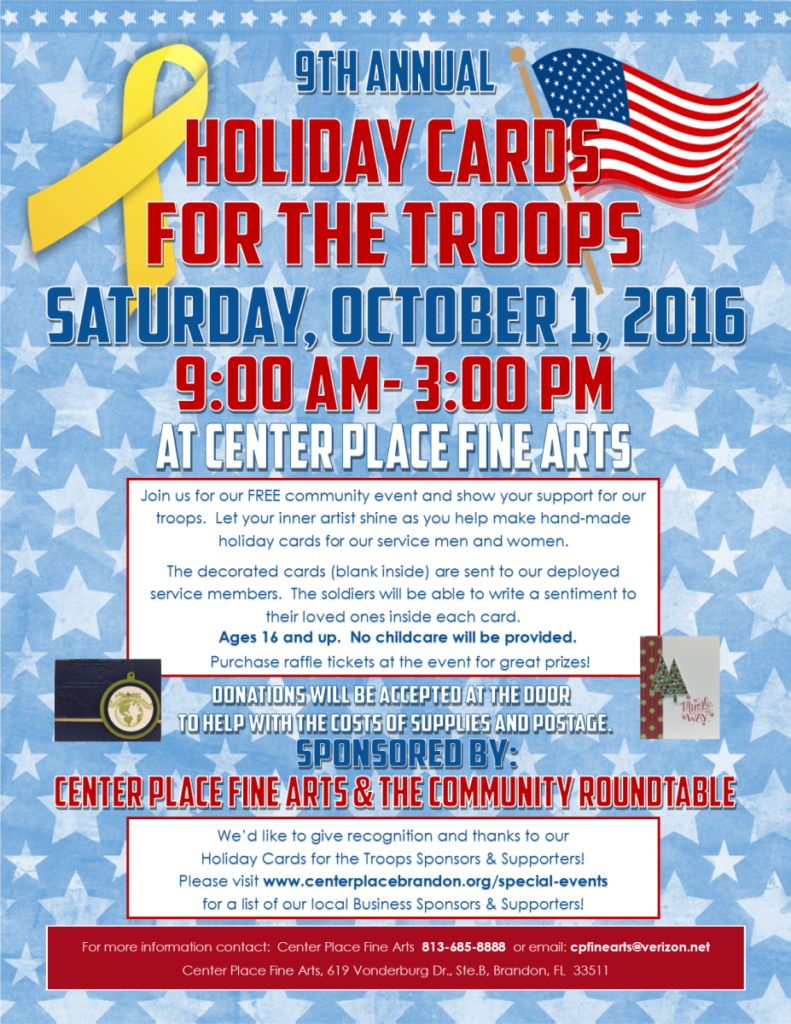 Holiday Cards for Troops 2016 @ Center Place Fine Arts and Civic Association | Brandon | Florida | United States