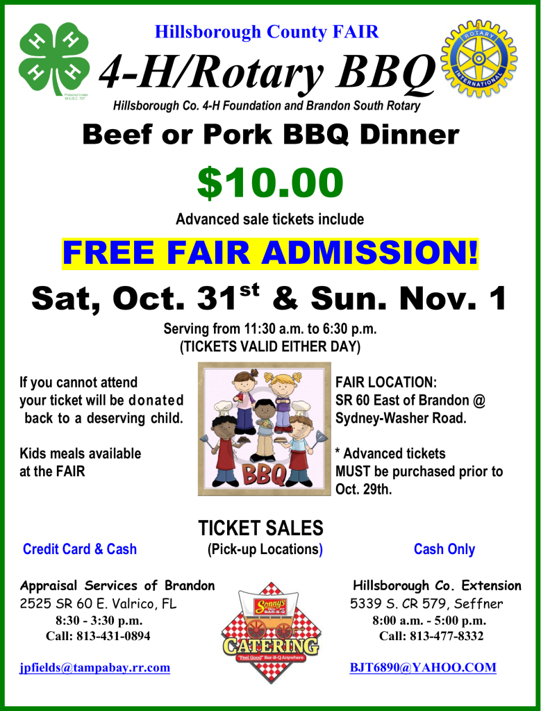 4-H/Rotary BBQ @ Hillsborough County Fair Grounds (Dover) | Dover | Florida | United States