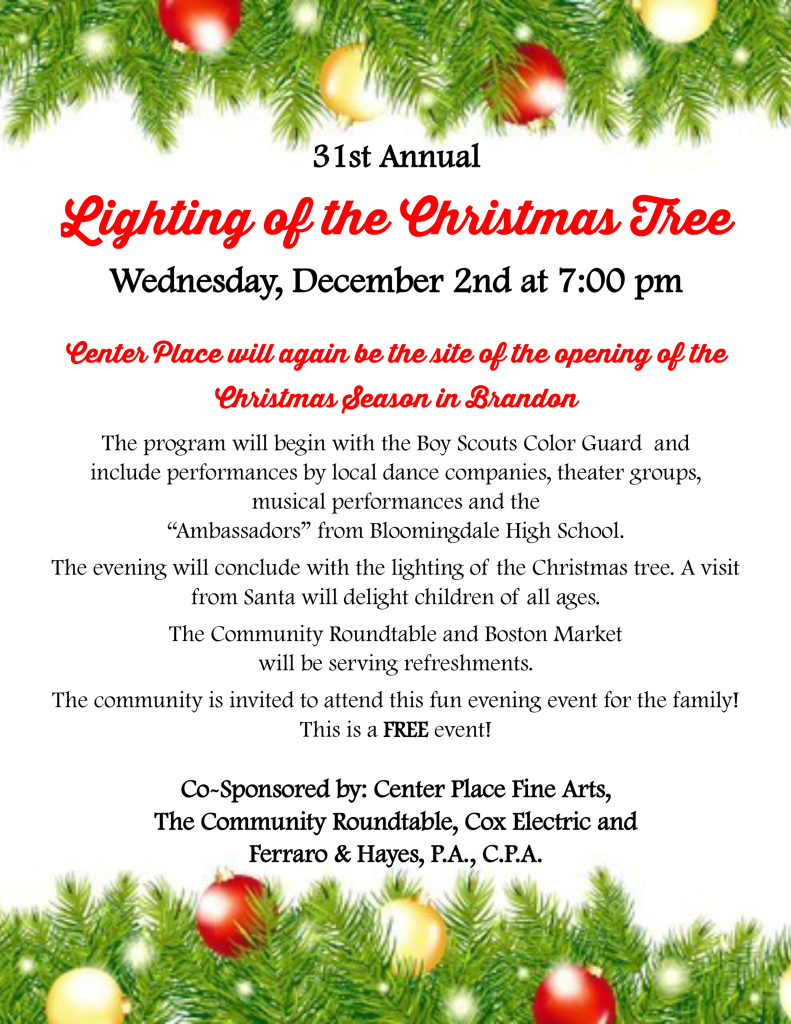 31st Annual Lighting of the Christmas Tree @ Center Place Fine Arts and Civic Association | Brandon | Florida | United States