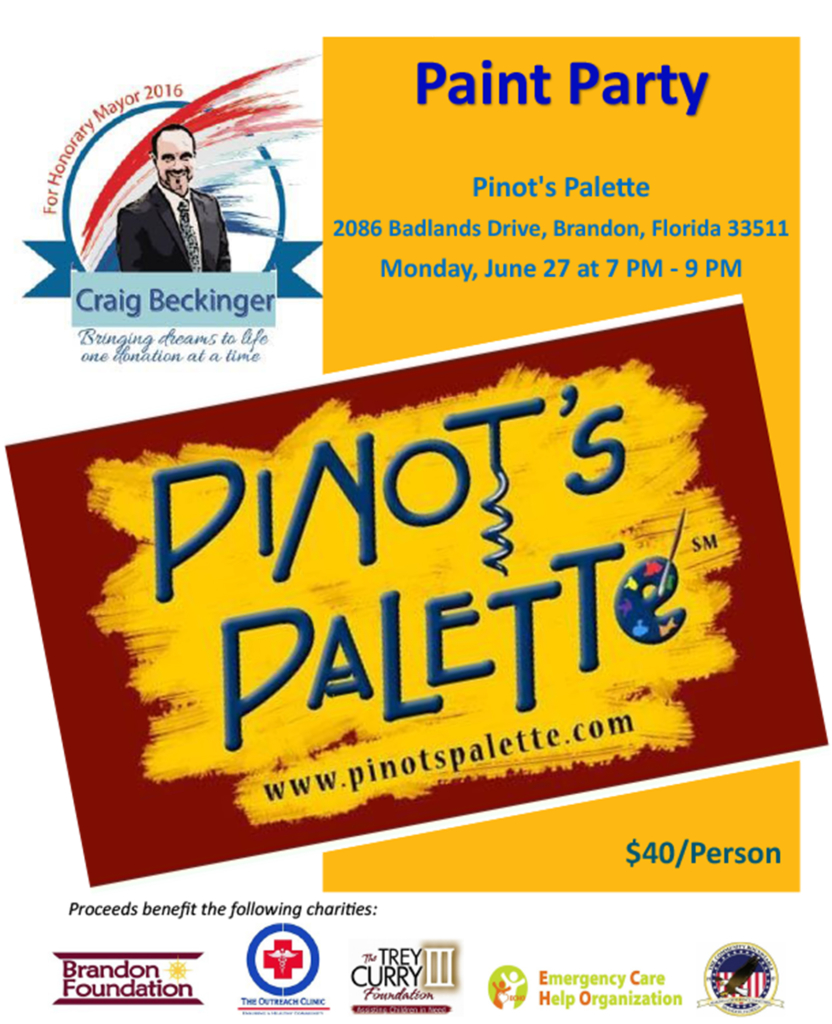 Craig Beckinger - Painting Party at Pinot's Palette @ Pinot's Palette   Brandon   Florida   United States