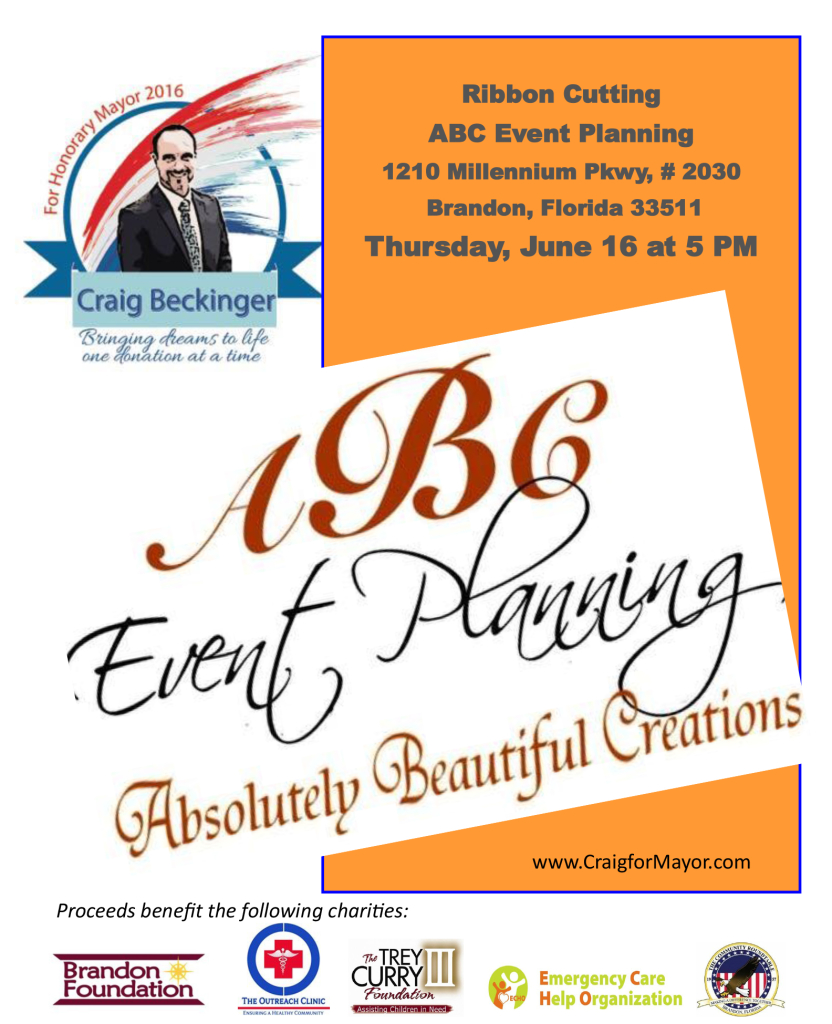 Craig Beckinger - Two Year Ribbon Cutting at ABC Event Planning @ ABC Event Planning | Brandon | Florida | United States